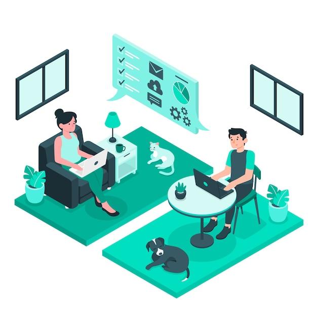 Illustration des telearbeitskonzepts Kostenlosen Vektoren