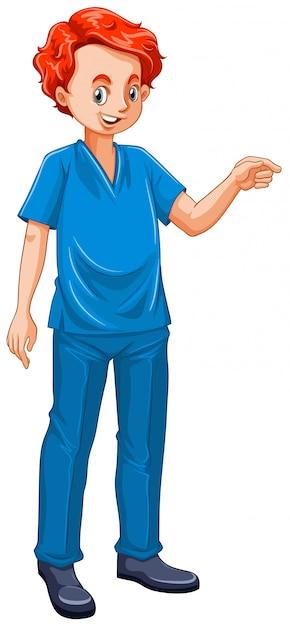 Illustration des tierarztes in blauer uniform gekleidet Kostenlosen Vektoren