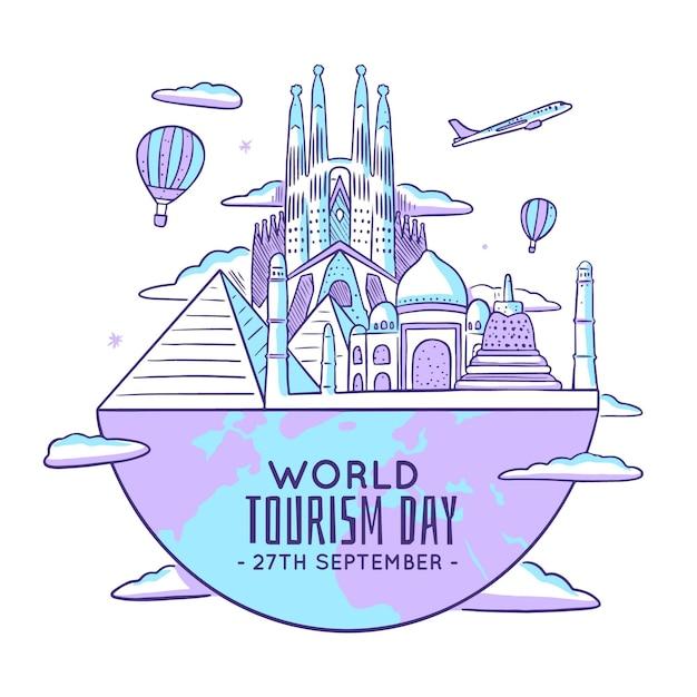 Illustration des tourismus-tages mit den wahrzeichen der welt Kostenlosen Vektoren