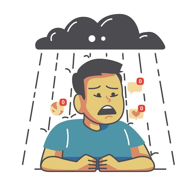 Illustration des traurigen mannes der karikatur Premium Vektoren