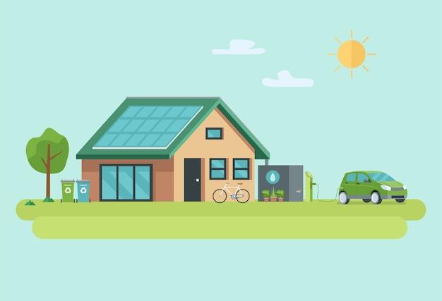 Illustration des umweltfreundlichen nachhaltigen modernen hauses. Premium Vektoren