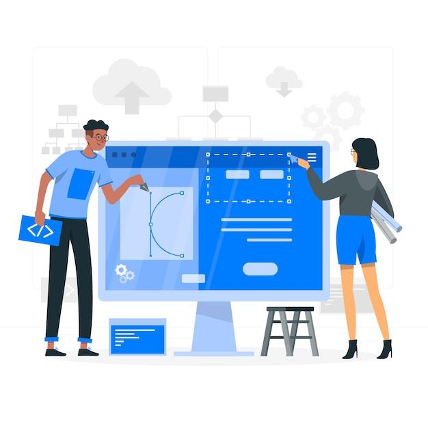 Illustration des website-ersteller-konzepts Kostenlosen Vektoren