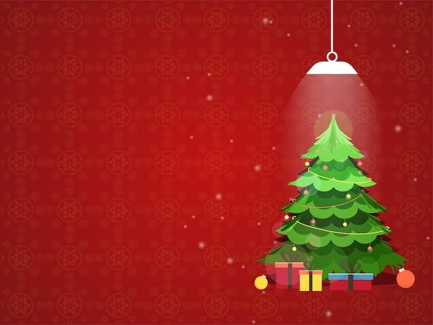 Illustration des weihnachtsbaumes mit kugeln Premium Vektoren