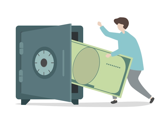 Illustration des zeichensparguthabens Kostenlosen Vektoren