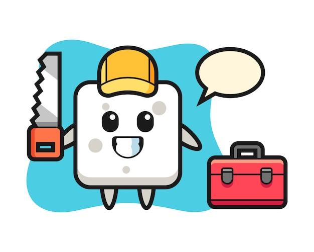 Illustration des zuckerwürfelcharakters als holzarbeiter, niedlicher stil für t-shirt, aufkleber, logoelement Premium Vektoren