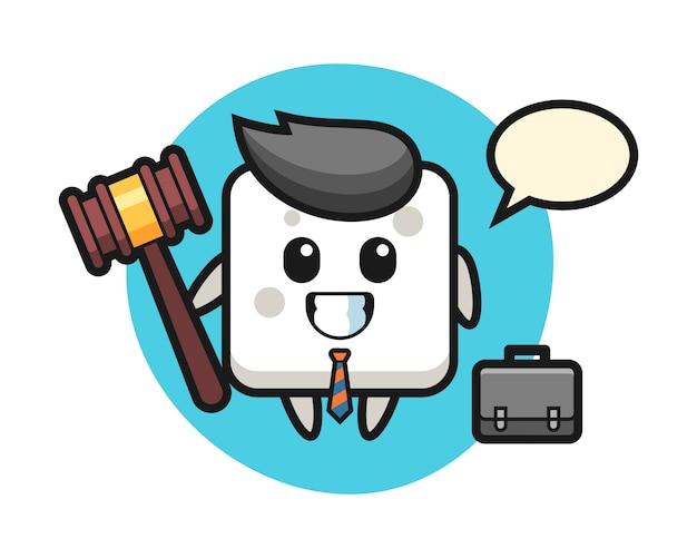 Illustration des zuckerwürfelmaskottchens als anwalt, niedlicher stil für t-shirt, aufkleber, logoelement Premium Vektoren