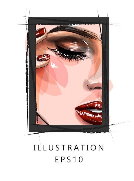 Illustration. ein teil des gesichts eines schönen mädchens. makeup rote lippen und lange wimpern. Premium Vektoren