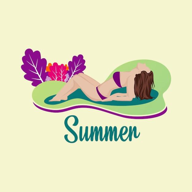 Illustration einer frau, die an einem sommertagesstrand ein sonnenbad nimmt Premium Vektoren
