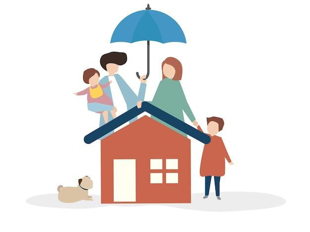 Illustration einer glücklichen Familie Kostenlose Vektoren