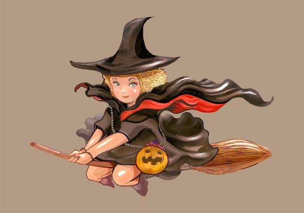 Illustration einer hexenikone für halloween Kostenlosen Vektoren