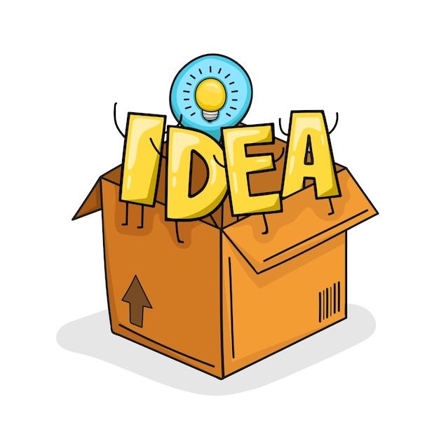 Illustration einer idee aus der box. denken sie aus der box