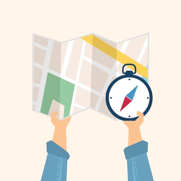 Illustration einer karte und des kompassses Kostenlosen Vektoren
