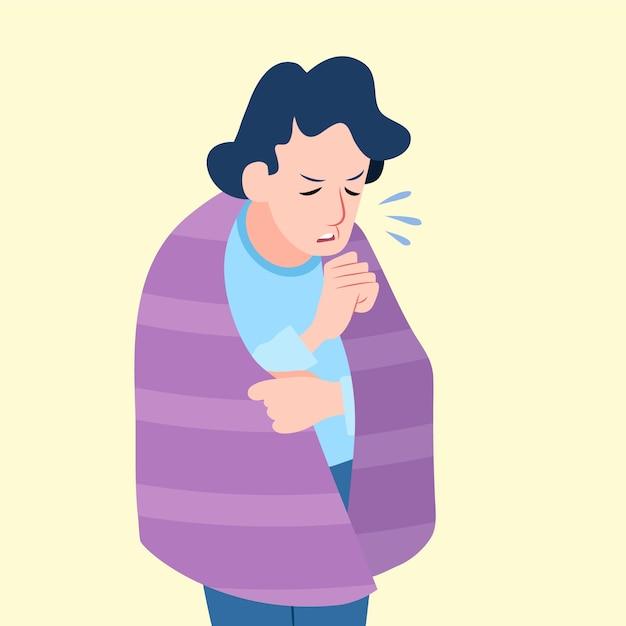 Illustration einer person mit einer erkältung Kostenlosen Vektoren