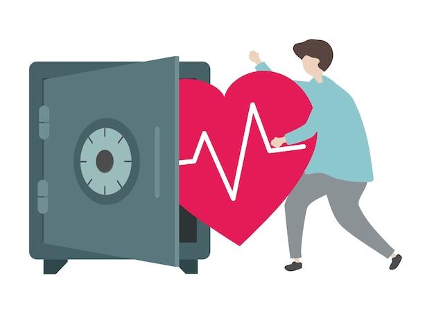 Illustration eines charakters und des gesundheitswesenkonzeptes Kostenlosen Vektoren
