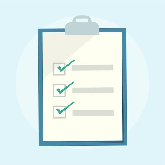 Illustration eines checklistenklemmbrettes Kostenlosen Vektoren