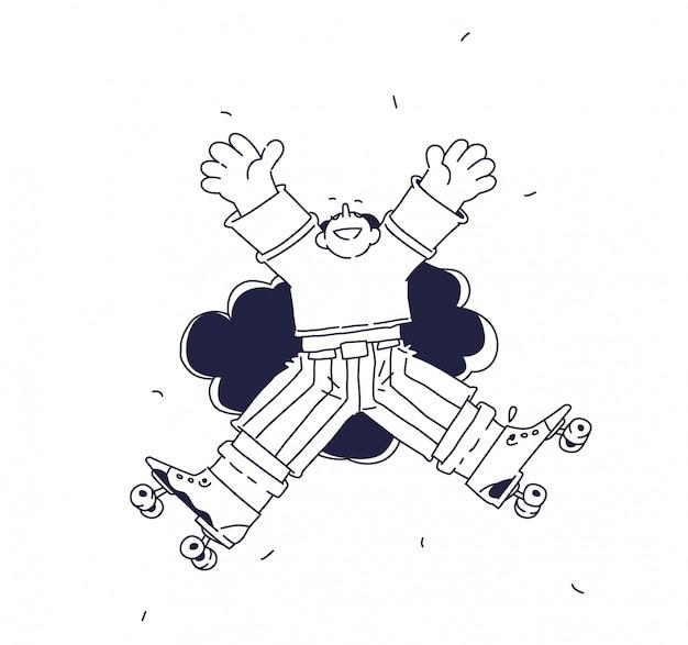 Illustration eines fröhlichen charakters auf rollschuhen Premium Vektoren