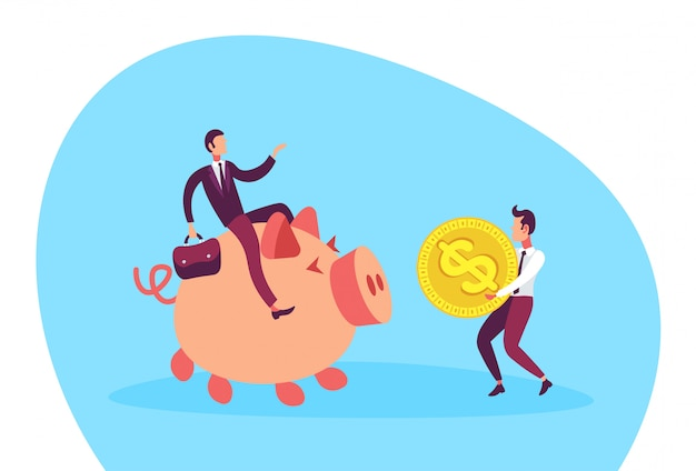 Illustration eines geschäftsmannes, der auf sparschwein sitzt Premium Vektoren