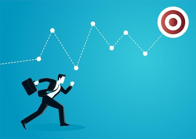 Illustration eines geschäftsmannes, der folgt von grafikkarte. Premium Vektoren