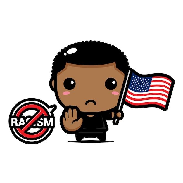 Illustration eines jungen, der eine amerikanische flagge und ein symbol des stopp-rassismus hält Premium Vektoren