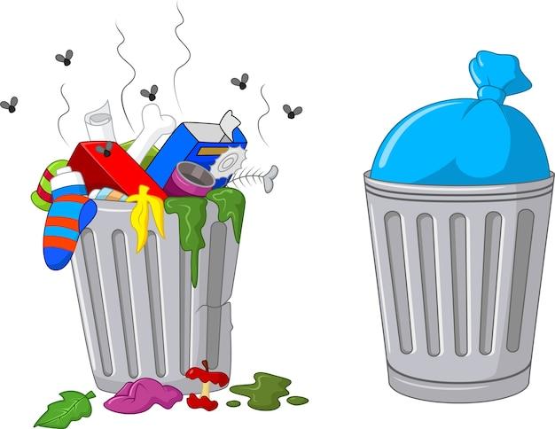 Illustration eines karikaturabfalleimers Premium Vektoren