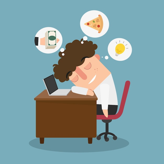 Illustration eines kerls, der während der arbeit träumt Premium Vektoren