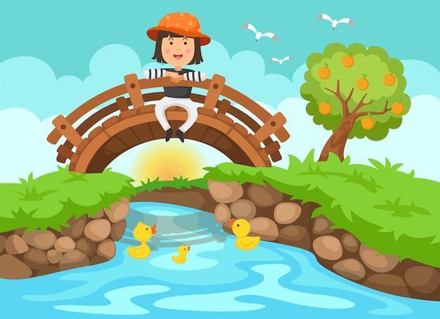 Illustration eines mädchens, das auf holzbrücke in der naturlandschaft sitzt Premium Vektoren