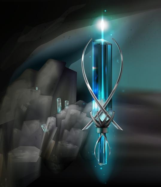 Illustration eines magischen silberamuletts aus edelstein Kostenlosen Vektoren