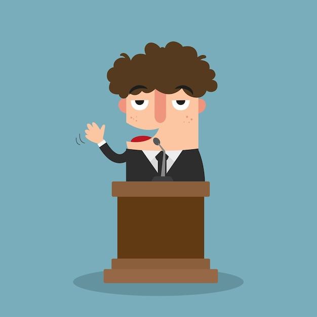 Illustration eines mannes, der auf der konferenz spricht Premium Vektoren