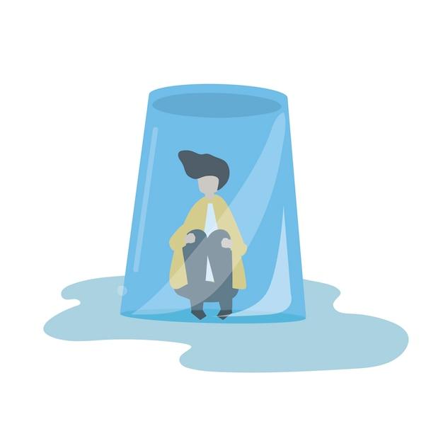 Illustration eines mannes in einem umgedrehten glas Kostenlosen Vektoren