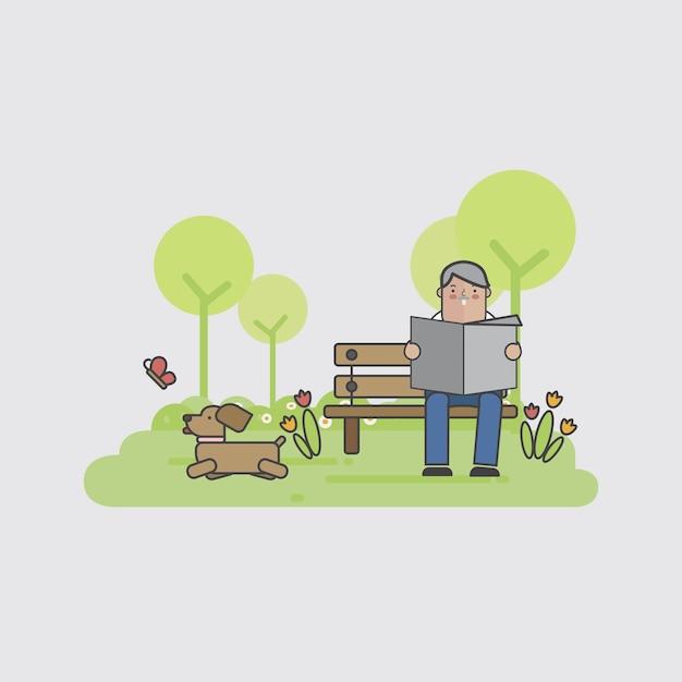 Illustration eines mannes mit seinem hund Kostenlosen Vektoren