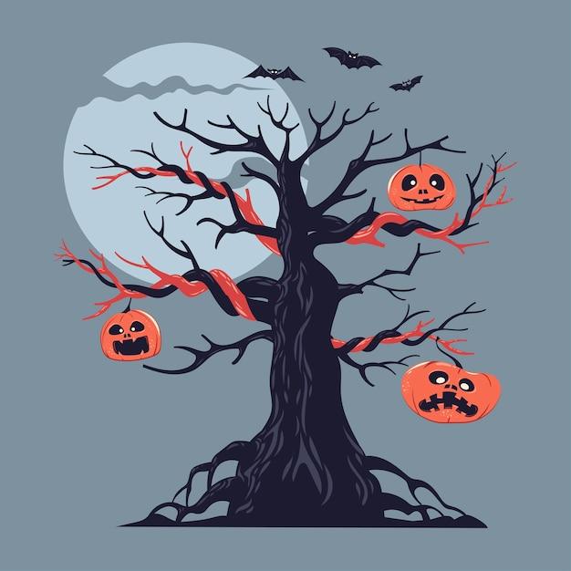 Illustration eines nackten gruseligen gruseligen halloween-baumes mit kürbisdekoration und fliegender fledermaus Premium Vektoren