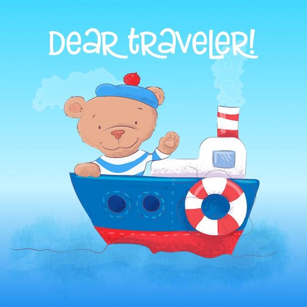 Illustration eines netten bärnseemanns youngs auf einem dampfschiff. Premium Vektoren