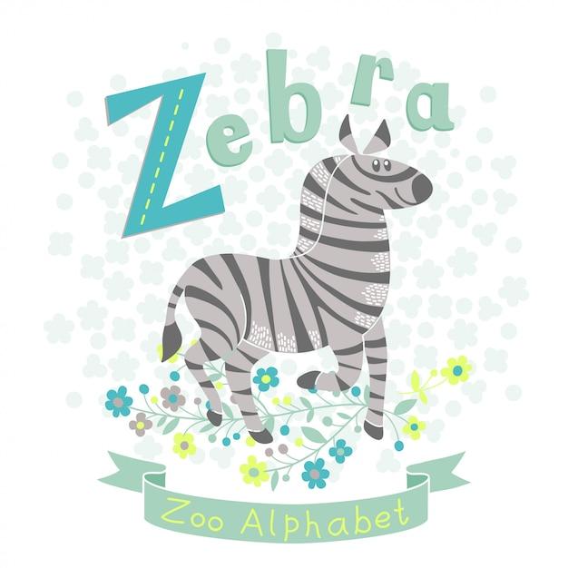 Illustration eines niedlichen zebras im karikaturstil. buchstabe z. Premium Vektoren