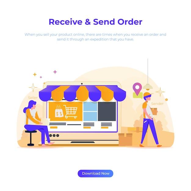Illustration eines online-shops für verkäufer und absender Premium Vektoren