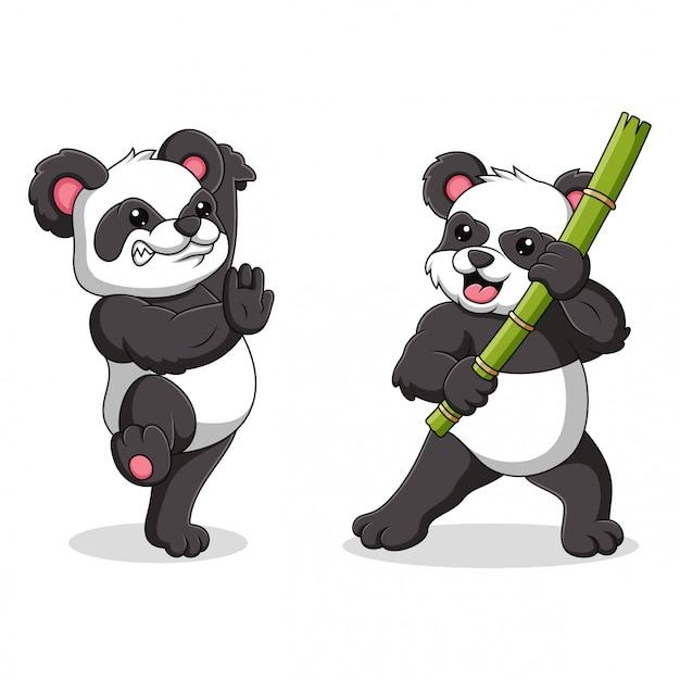Illustration eines pandas mit kung fu bewegungen Premium Vektoren
