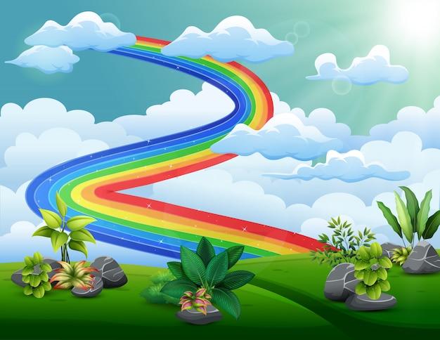 Illustration eines regenbogens mit bewölktem himmel über den hügeln Premium Vektoren