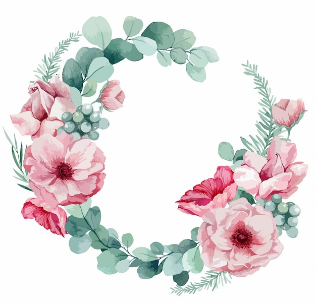 Illustration eines sanften kranzes für eine hochzeitseinladung von eukalyptus, rosa anemonen, palmblättern und mohnblumen. Premium Vektoren