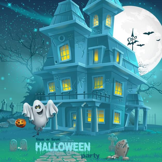 Illustration eines spukhauses für halloween für eine partei mit geistern Premium Vektoren