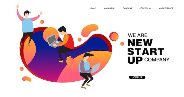 Illustration für ein neues startup-unternehmen Premium Vektoren