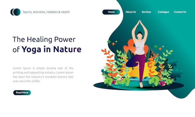 Illustration für landing page template - frauen tun körperbalance, die heilkraft des yoga in der natur Premium Vektoren