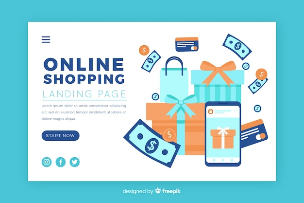 Illustration für landingpage mit online-shopping-konzept Kostenlosen Vektoren