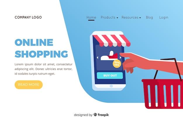 Illustration für landingpage mit online-shopping-konzept Premium Vektoren