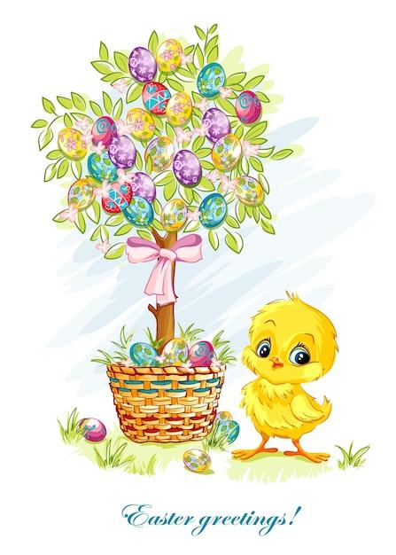 Illustration für ostertag mit einem jungen huhn und osterbaum Premium Vektoren