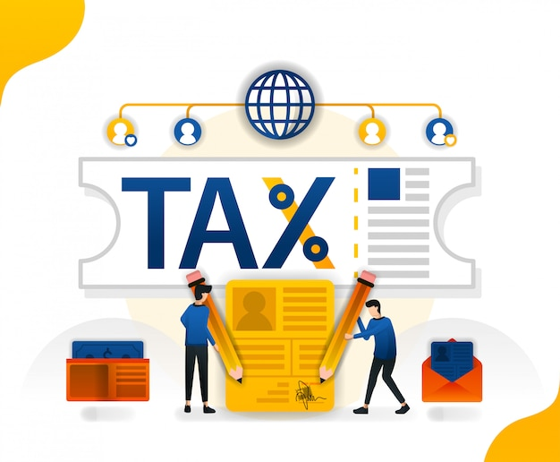 Illustration für steueramnestiekupons für steuerreporter Premium Vektoren