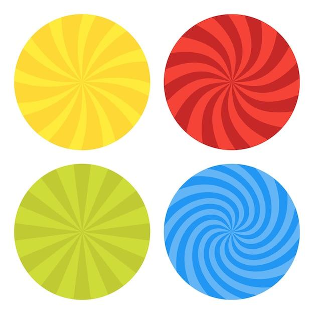 Illustration für wirbel. wirbelndes radiales musterhintergrundset. vortex starburst spiral twirl helix rotationsstrahlen. konvergierende psychedelisch skalierbare streifen. lustige sonnenlichtstrahlen. Premium Vektoren