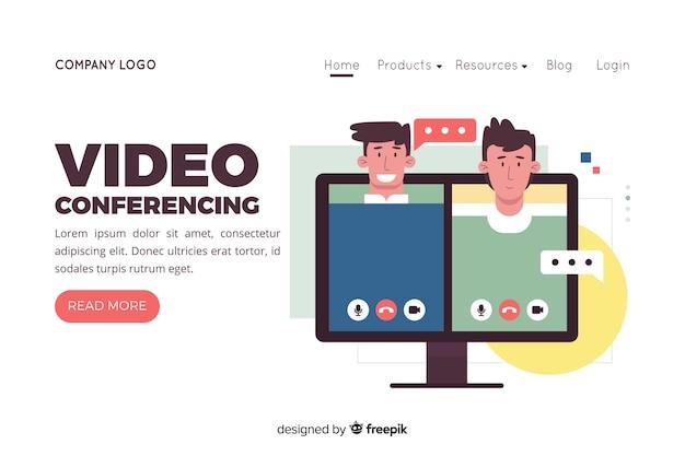 Illustration für zielseite mit videokonferenzkonzept Kostenlosen Vektoren