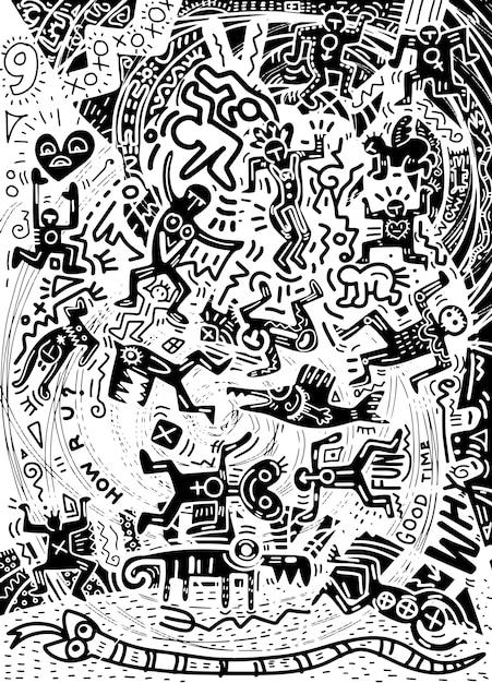 Illustration, hand gezeichnetes gekritzel von verrückten leuten in den psychedelischen gekritzeln der stadt. Premium Vektoren