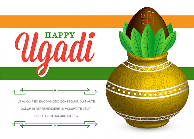 Illustration happy ugadi celebration mit fiktivem 'lorem ipsum'-text Premium Vektoren