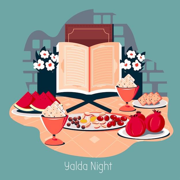 Illustration happy yalda nachtparty im iran Premium Vektoren