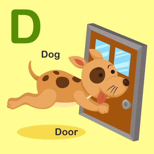 Illustration lokalisierter tieralphabet-buchstabe d-dog, tür Premium Vektoren